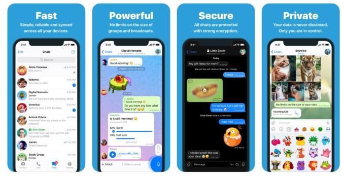 Zrzuty ekranu z aplikacji mobilnej Telegram
