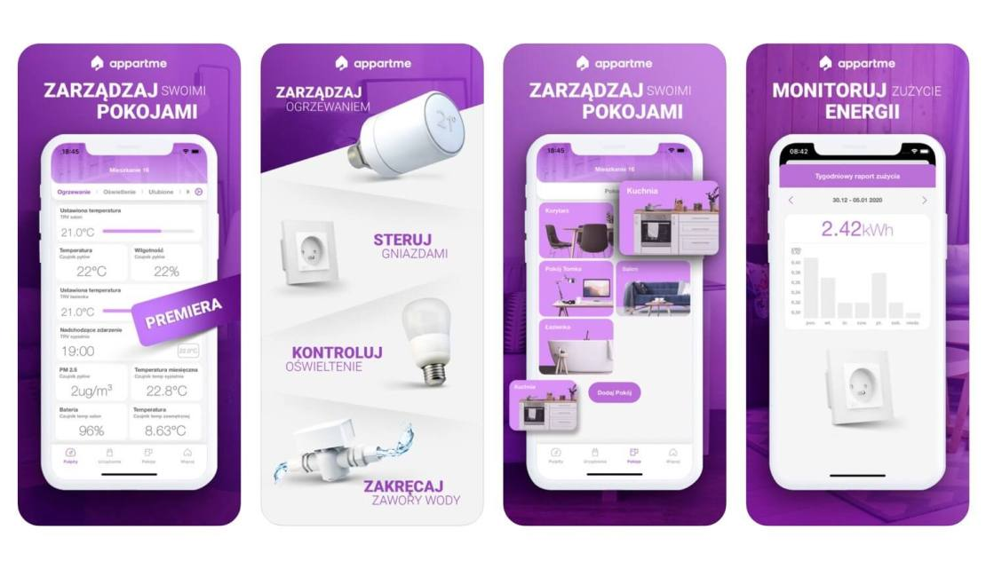 Zrzuty ekranu z aplikacji Appartme – Steruj swoim mieszkaniem (S-Labs)
