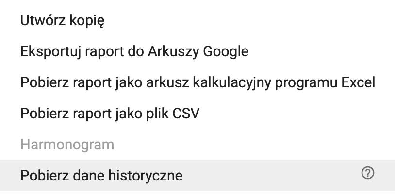 Pobieranie danych historycznych z Raportów AdSense