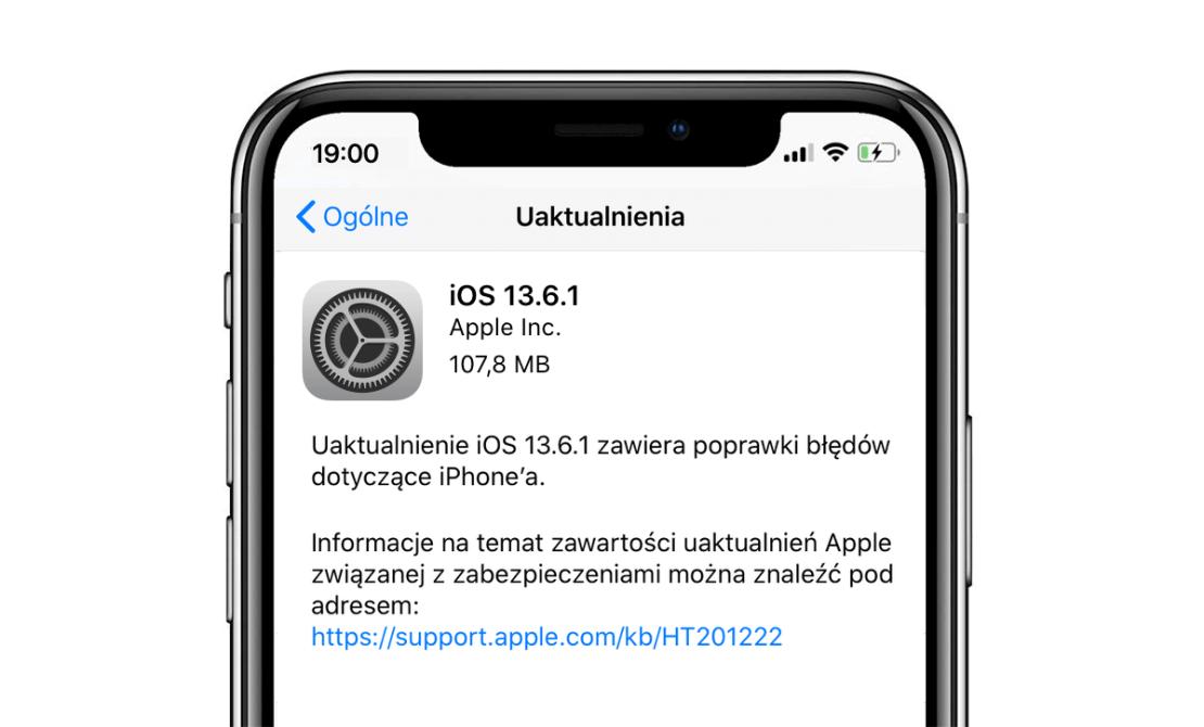 Uaktualnienie iOS 13.6.1