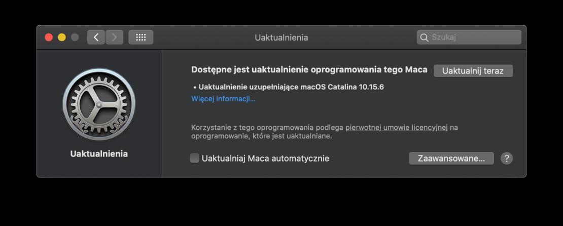 macOS 10.15.6 (uaktualnienie uzupełniające)