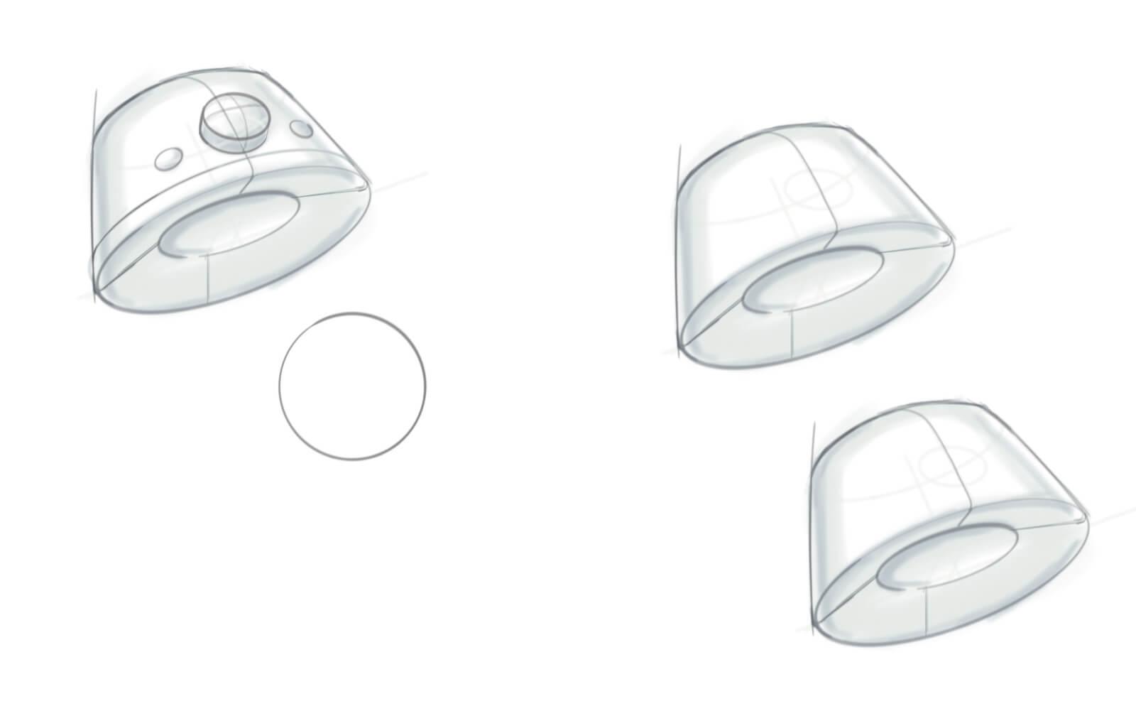Szkice obudowy i przycisków Mudita Bell