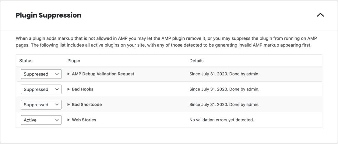 Plugin Suppression - ustawienia wtyczek dla stron AMP