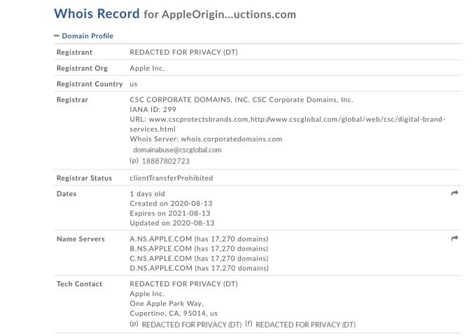WhoIs domain info: AppleOriginalProductions.com