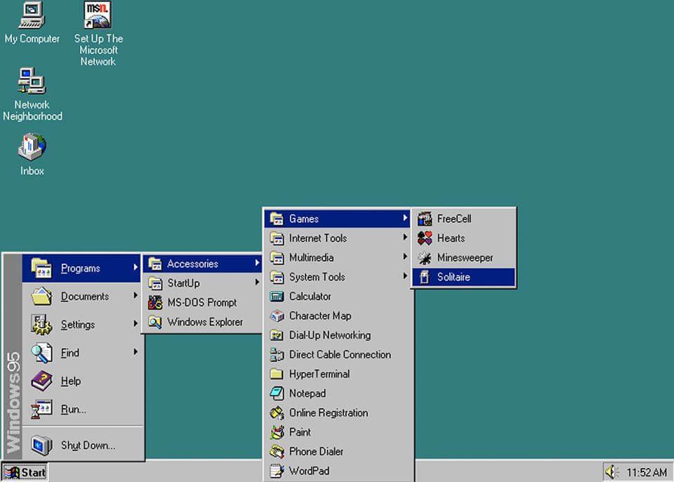 Menu START w Windowsie 95