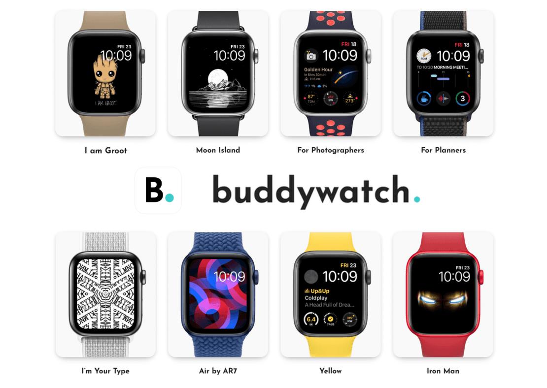 Buddywatch - przykłady spersonalizowanych tarcz z aplikacji