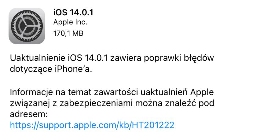 iOS 14.0.1 - update info
