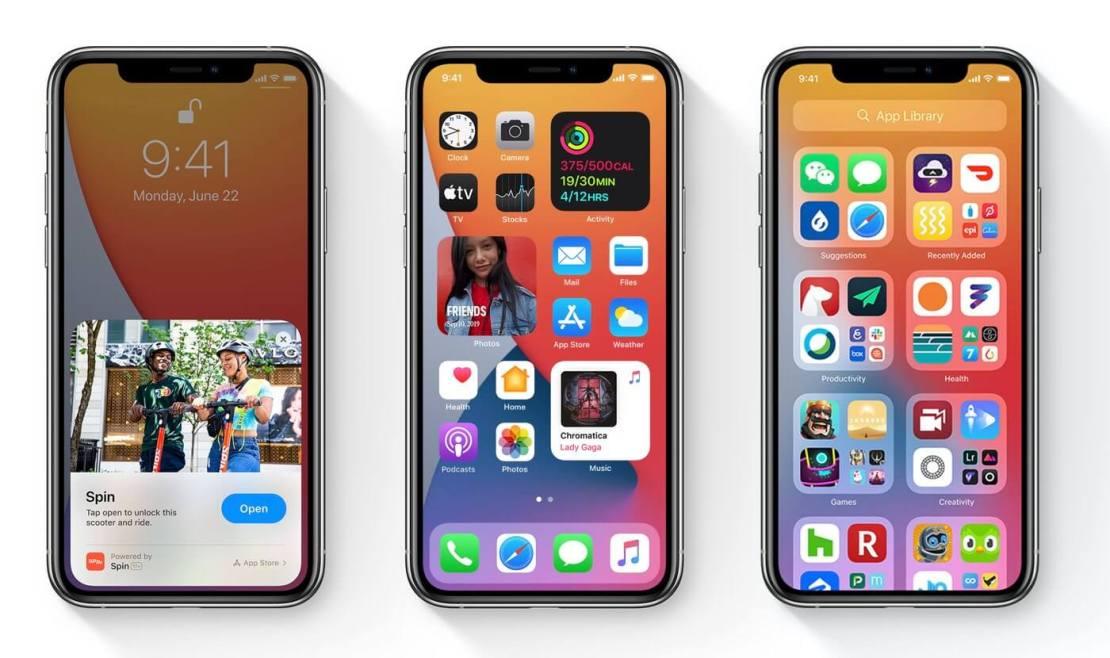 Zrzuty ekranów z systemu iOS 14