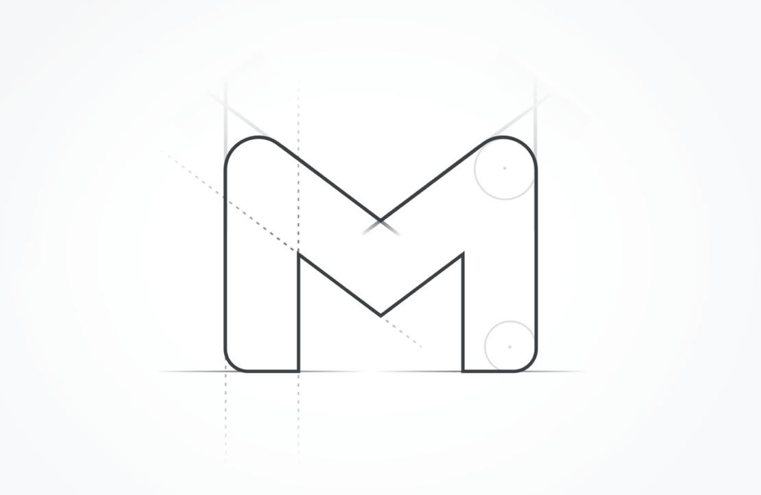 Szkic nowej ikony usługi Gmail (2020)