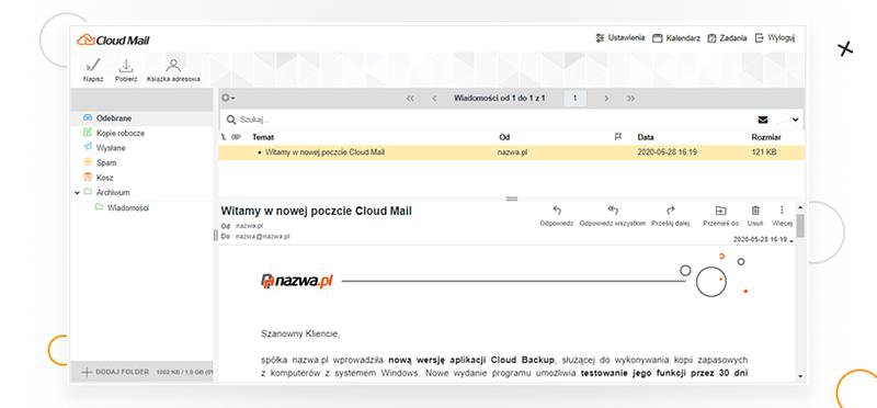 usługa poczty CloudMail w nazwa.pl (screen)