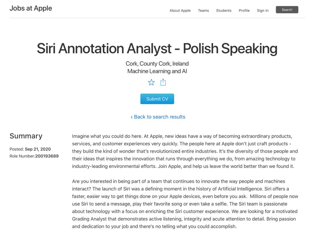 Fragment ogłoszenia o prace firmy Apple na stanowisko: Siri Annotation Analyst - Polish Speaking (9/2020)