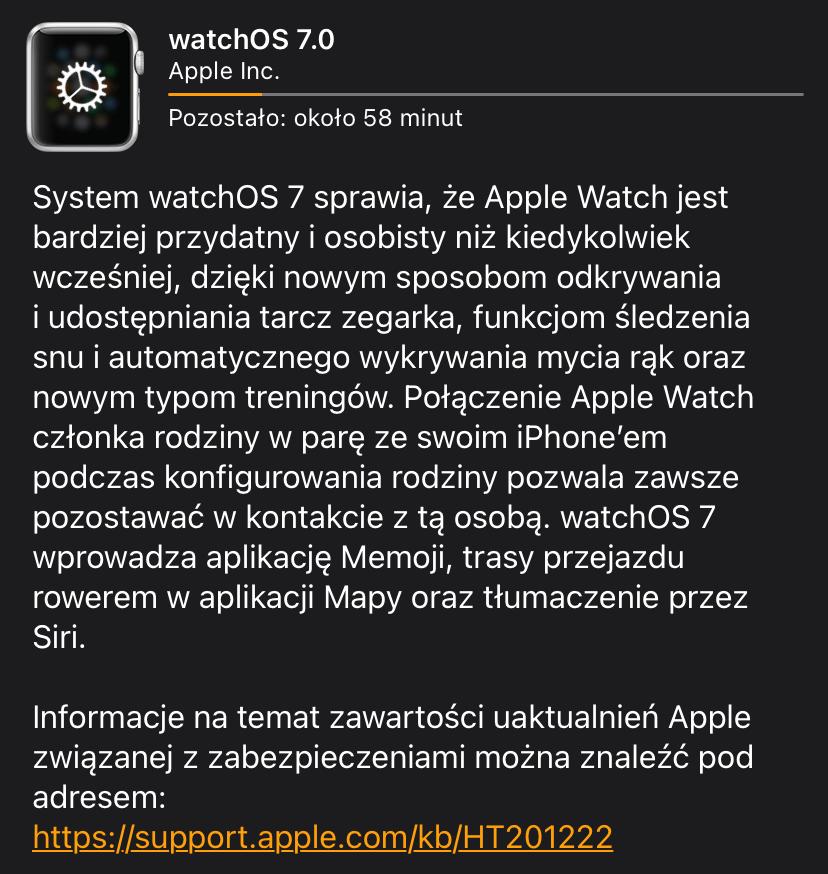 watchOS 7 - informacje o systemie