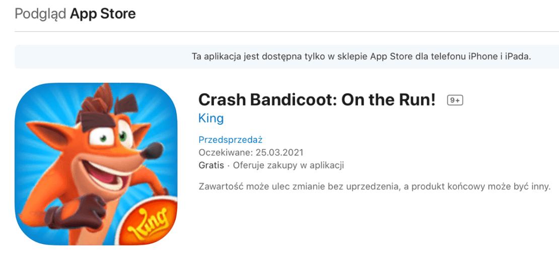 Przedsprzedaż Crash Bandicoot: On the Run! (iOS screen)