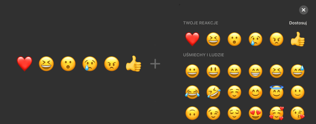 Dostosuj reakcje na Messengerze