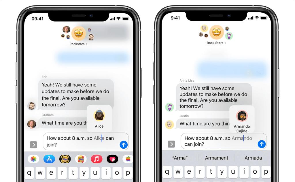 Oznaczanie (wspominanie) osób w iMessage (iOS 14)