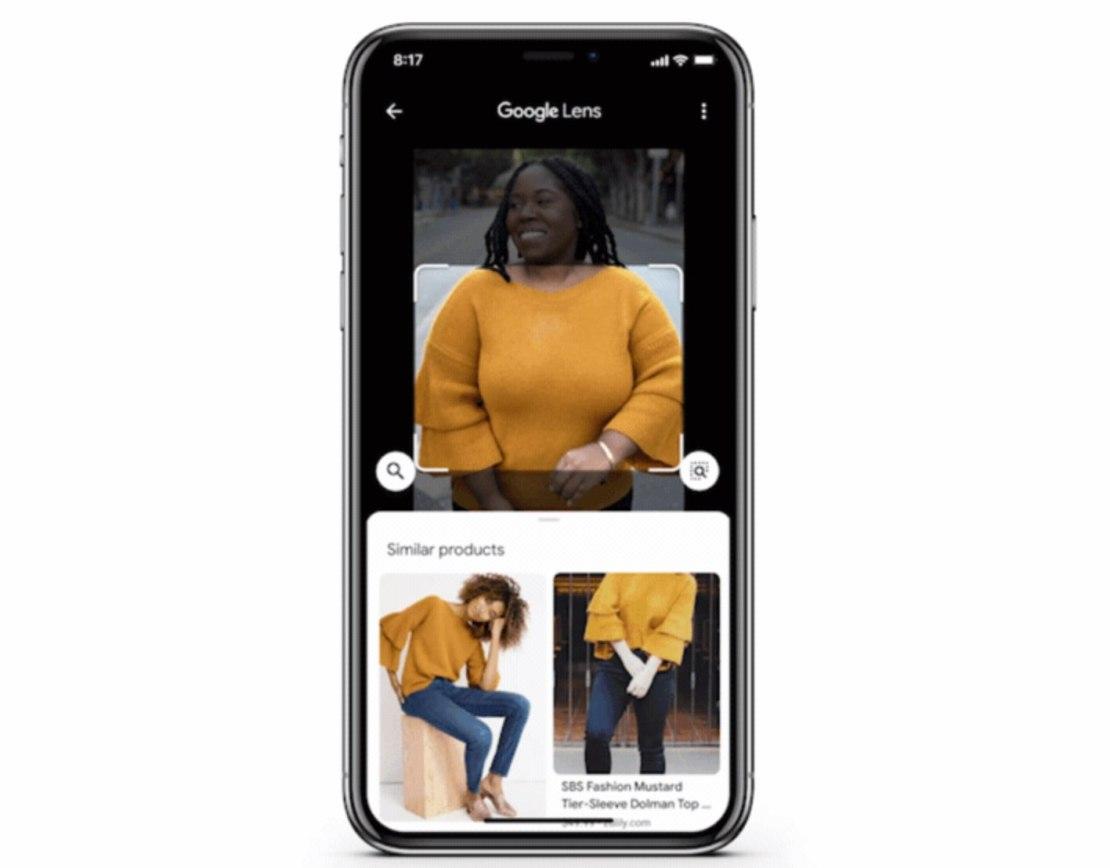 Google Lens - wyszukiwanie ubrań
