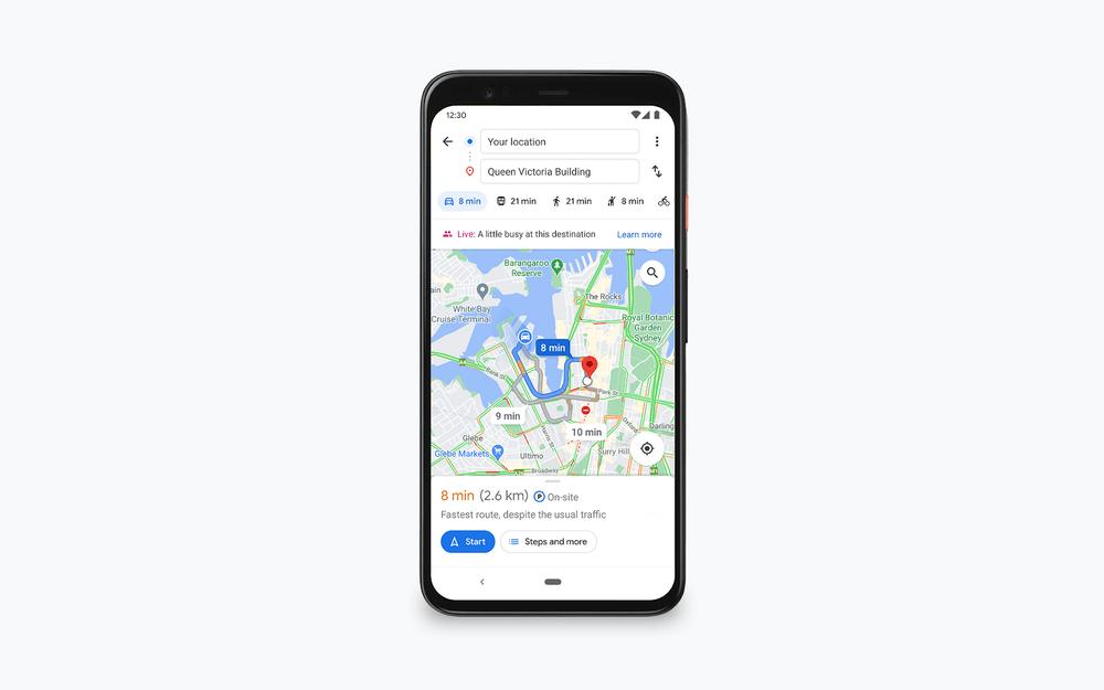 Mapy Google - zajętość na trasie - na mapie