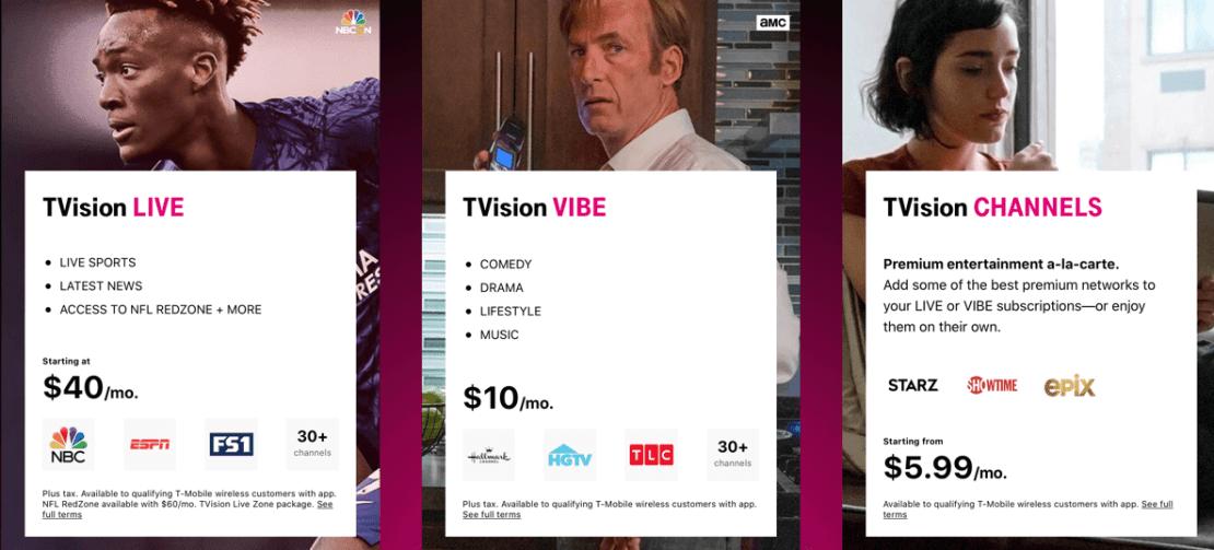 Pakiety TVision od T-Mobile (USA, 10/2020)