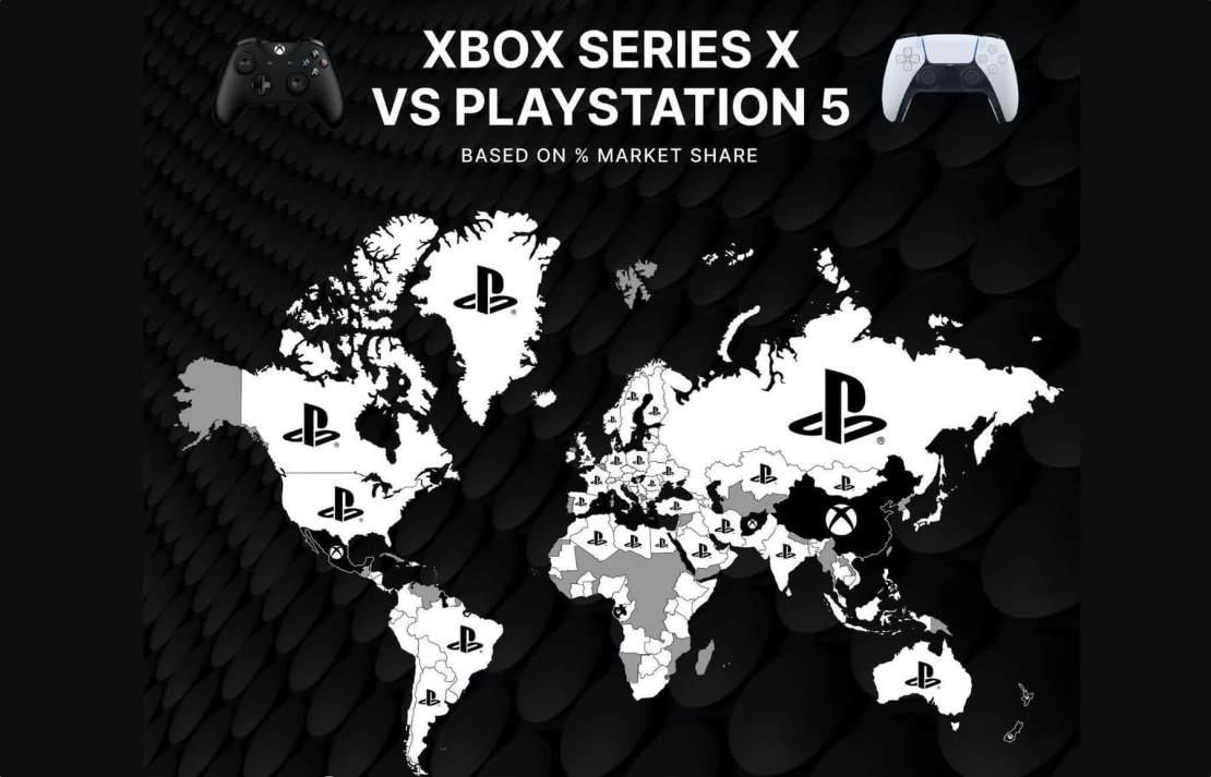 Mapa: Prognoza sprzedaży konsol PS5 i XBSX na świecie (10/2020)