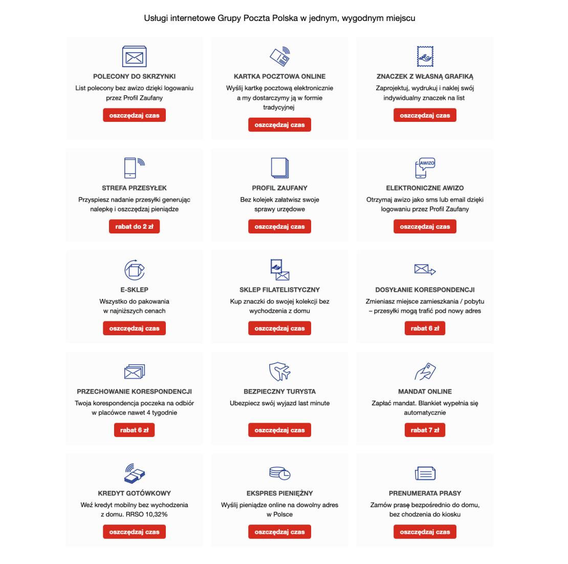 Usługi dostępne w serwisie Poczta Cyfrowa