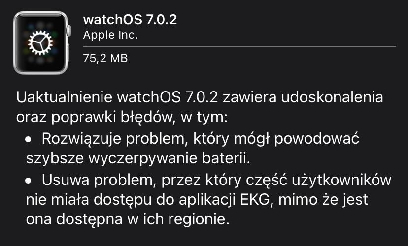 Uaktualnienie systemu watchOS 7.0.2