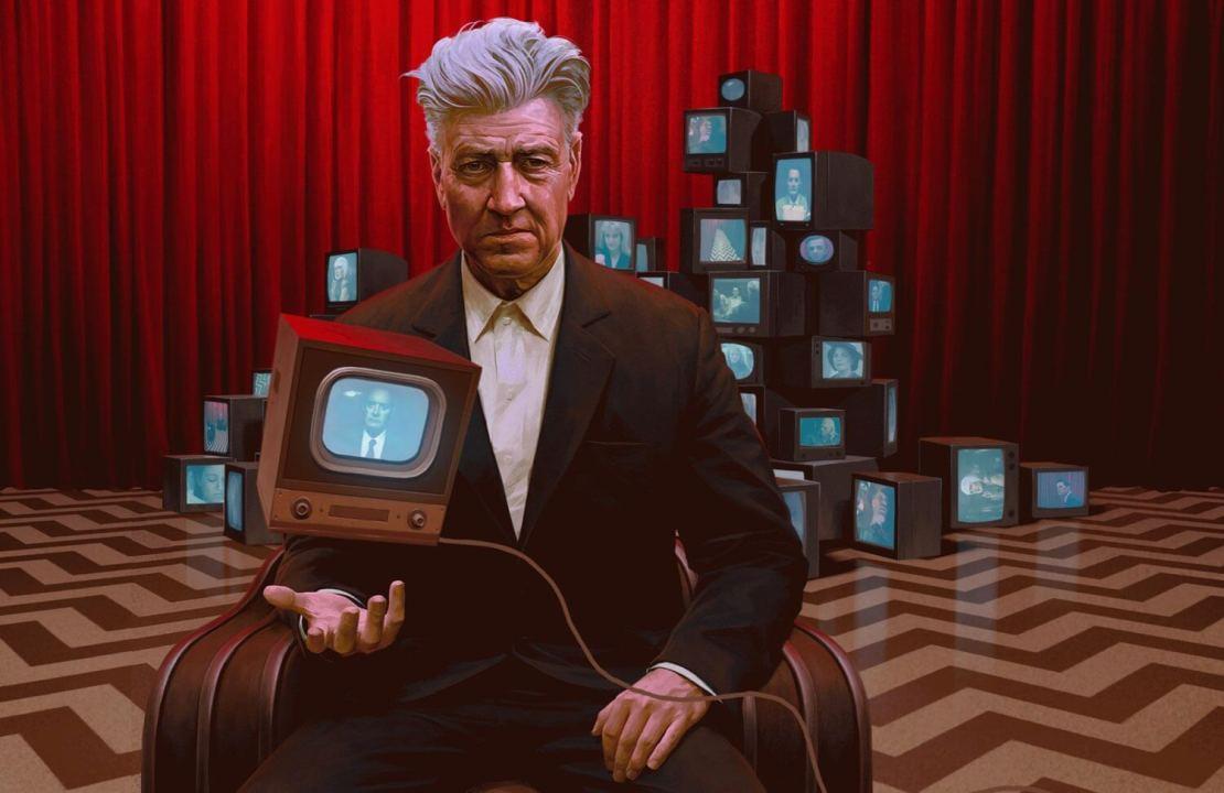 David Lynch w czerwonym pokoju z telewizorami (ilustr. Jeremy Enecio)