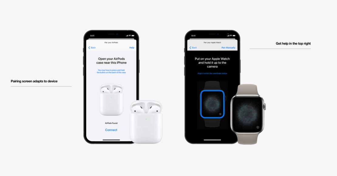 Koncepcja aplikacji Akcesoria (widok dla słuchawek AirPods i Apple Watch)