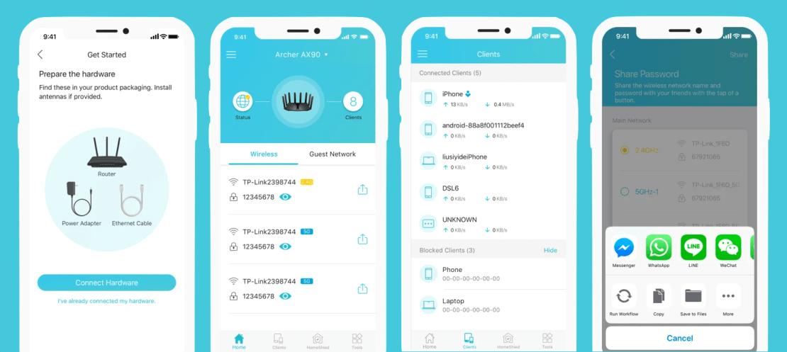 Zrzuty ekranu z aplikacji Tether (TP-Link) na smartfony