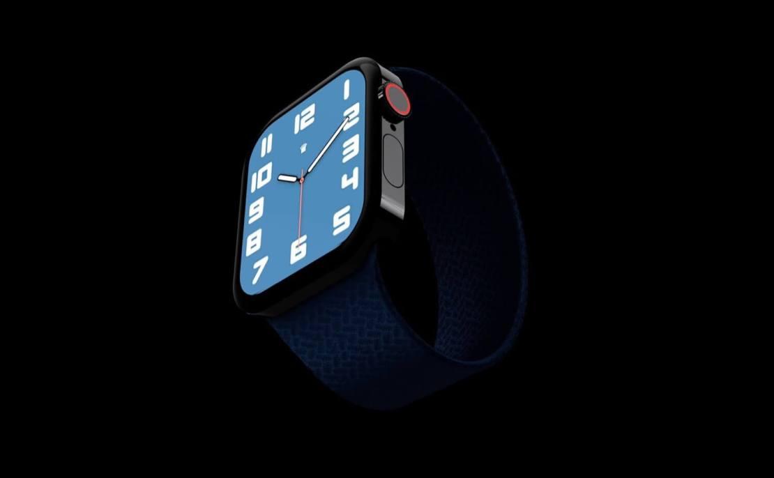 Koncepcja zegarka Apple Watch Series 7 z płaskimi krawędziami (front, tarcza)