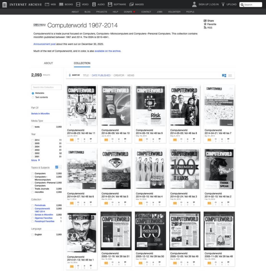 Zrzut ekranu ze strony z archiwum cyfrowych wersji drukowanego magazynu Computerworld z lat 1967-2014