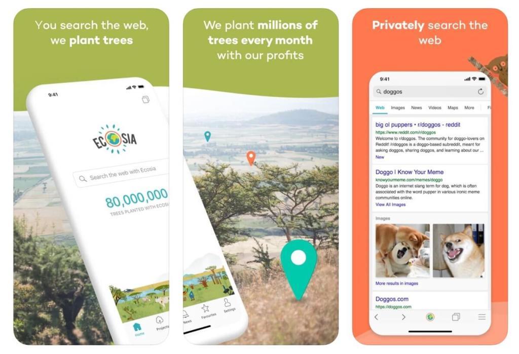 Aplikacja mobilna Ecosia - wyszukiwarka internetowa