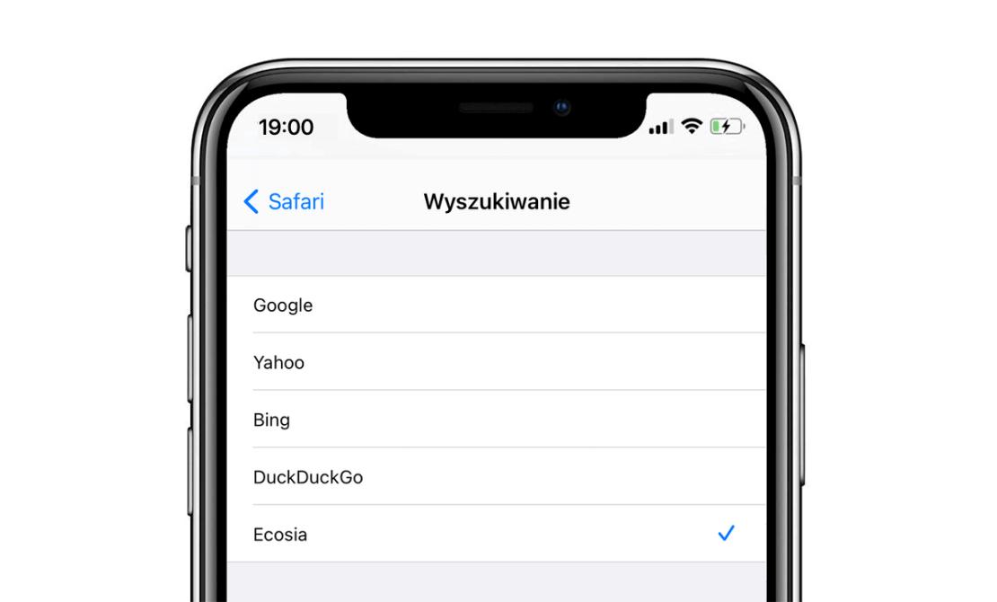 Ustawienie wyszukiwarki Ecosia jako domyślnej w Safari na iPhonie (iOS 14.3)