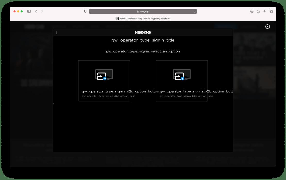 Zrzut ekranu ze strony logowania do HBO GO (błędy i wykrzaczone znaki)