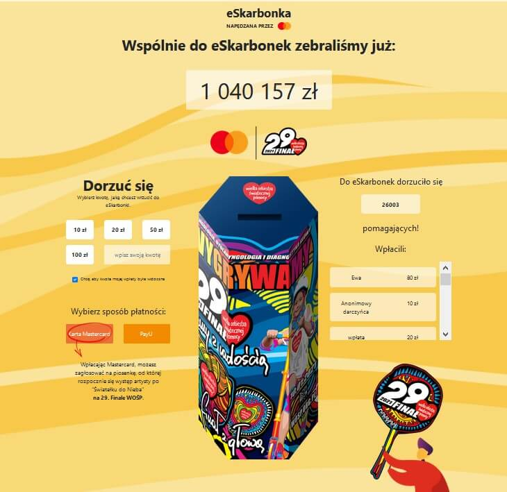 Zrzut ekranu ze strony eSkarbonka 2021