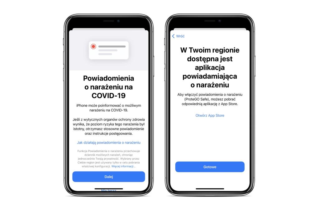 Powiadomienia o narażeniu iOS 12.5.1 update