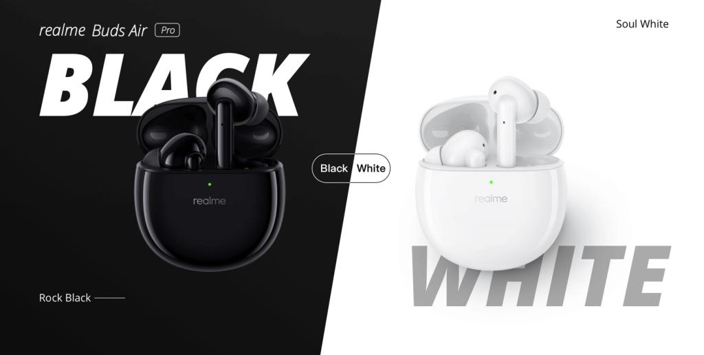 Białe i czarne słuchawki douszne realme Buds Air Pro
