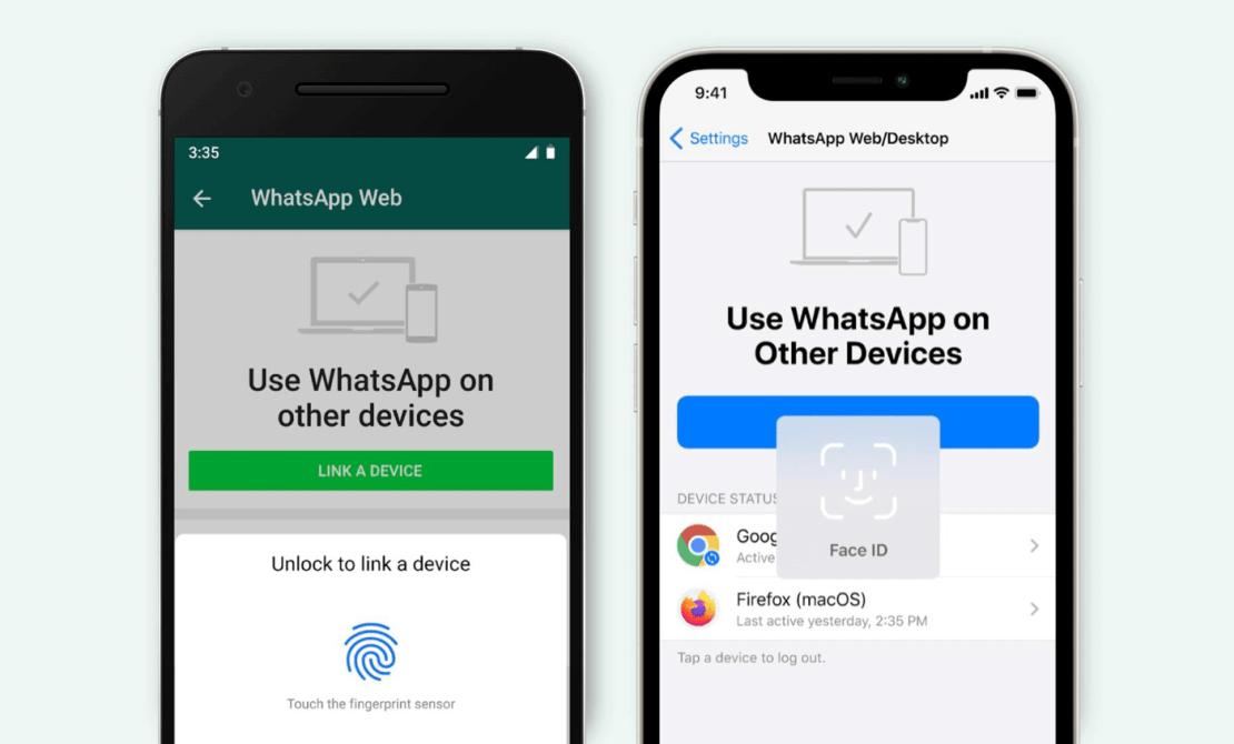 Łączenie kont WhatsAppa za pomocą uwierzytelnienie biometrycznego