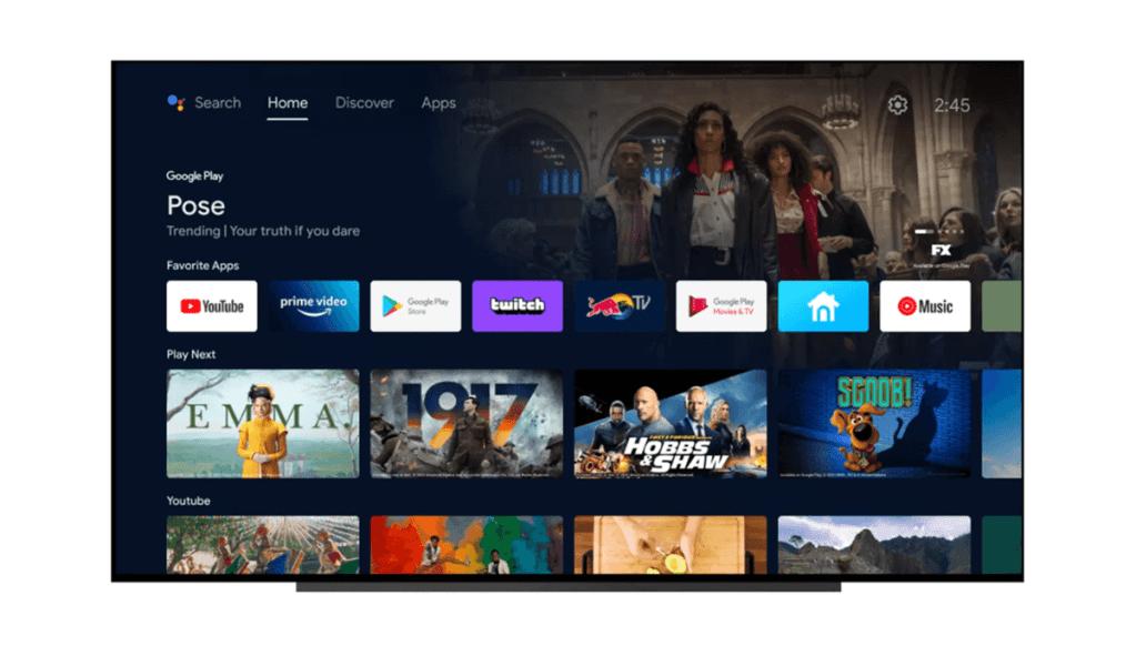 Nowy ekran główny w aktualizacji UI systemu Android TV 2021