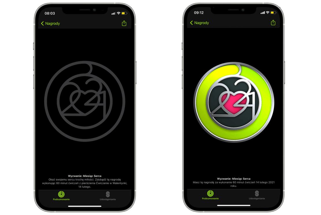 Wyzwanie: Miesiąc Serca – Aktywnośc na Apple Watchu w Walentynki 2021 r.