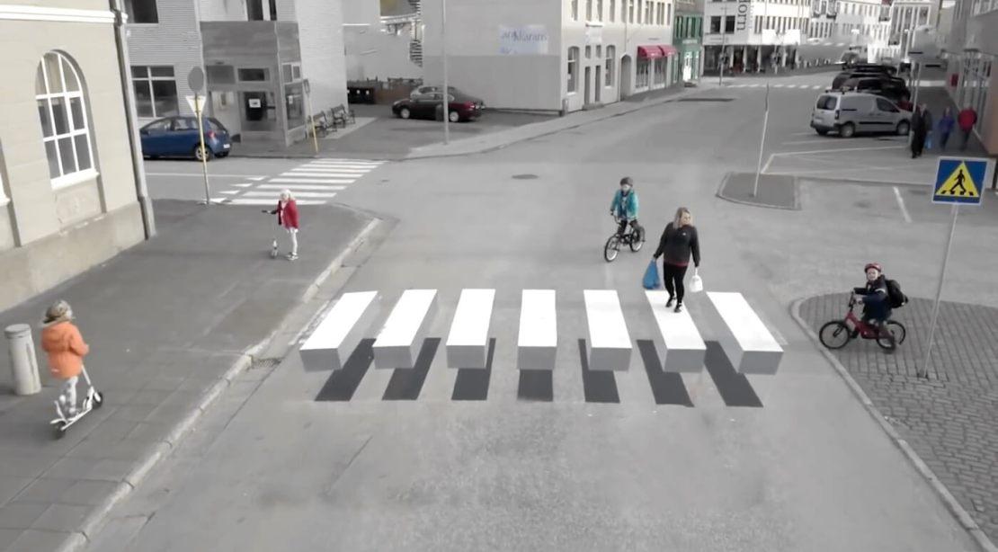 Przejście z pasami 3D w  Ísafjörður na Islandii