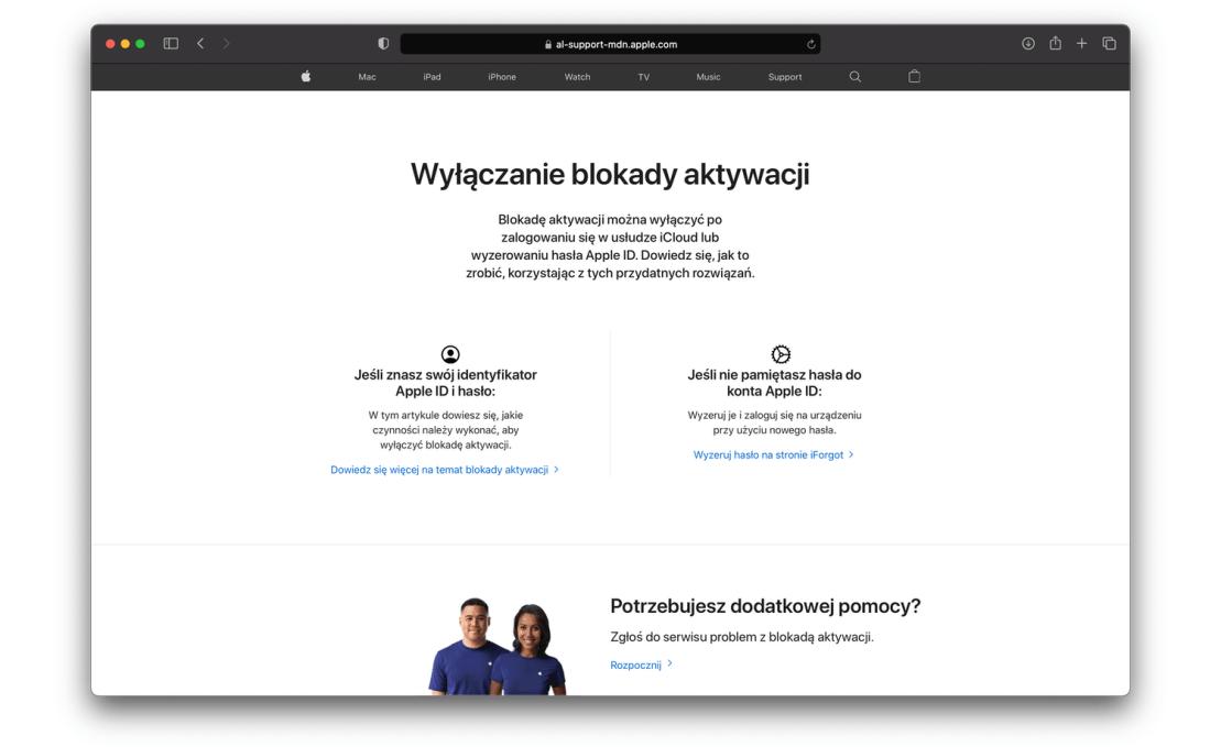 Wyłączanie blokady aktywacji na stronach Apple'a