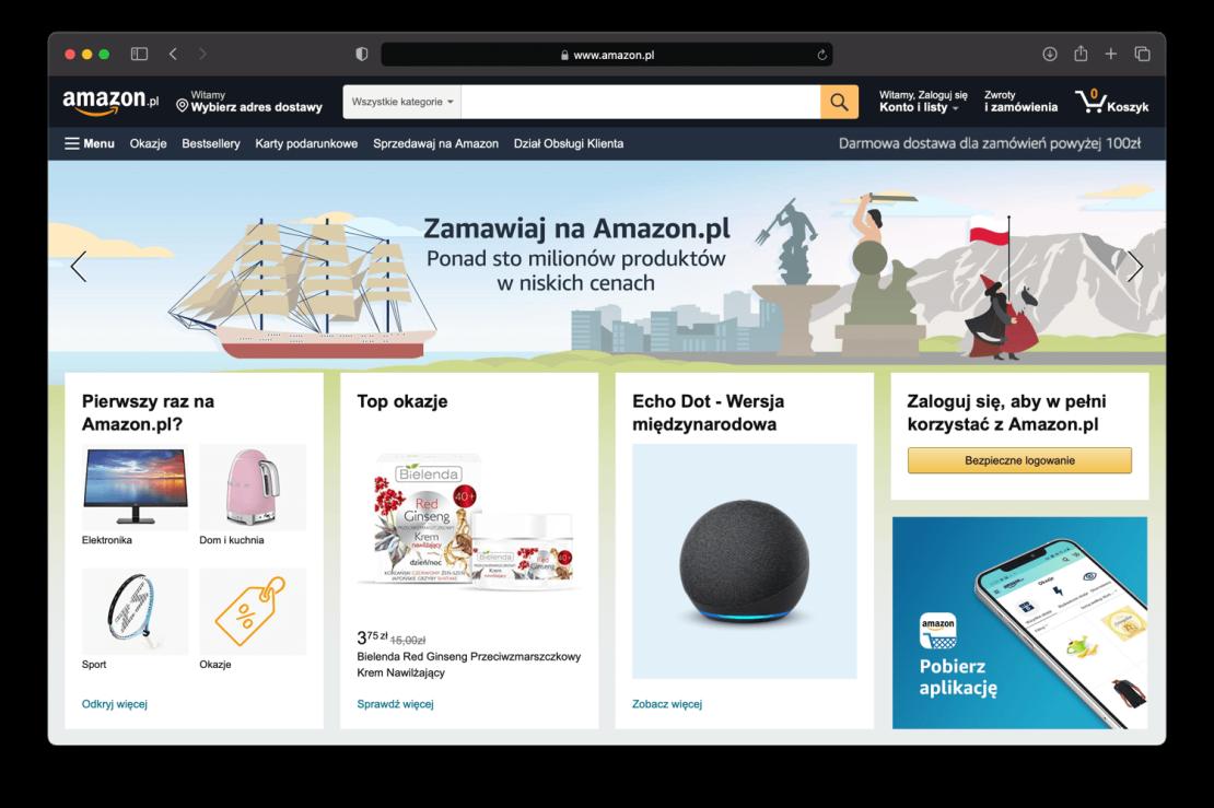 Zrzut ekranu z polskiej wersji serwisu Amazon.pl