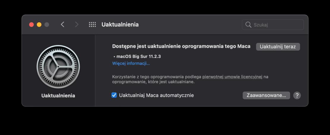 Uaktualnienie macOS 11.2.3