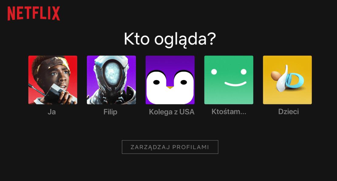 Profile użytkowników serwisu Netflix