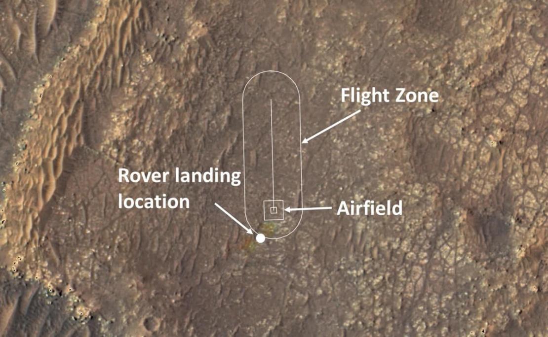 Obszar lotu Ingenuity na Marsie (8 kwietnia 2021 r.)