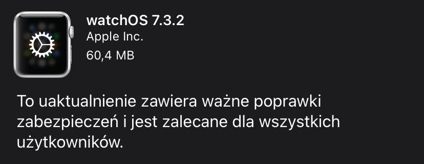 Uaktualnienie watchOS 7.3.2