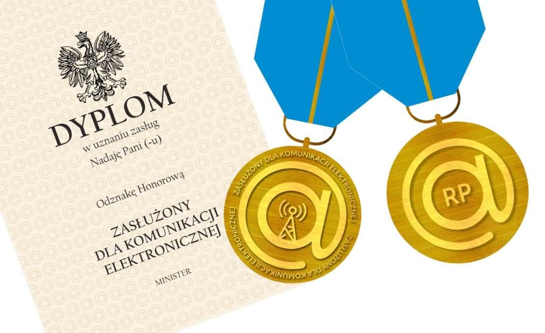 """Projekt odznaczenia (medalu) oraz dyplom dla """"Zasłużonych dla Komunikacji Elektronicznej"""""""