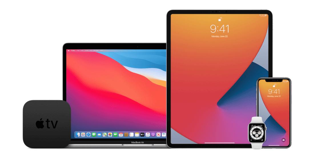 Urządzenia firmy Apple: Apple TV, MacBook, iPad, Apple Watch, iPhone