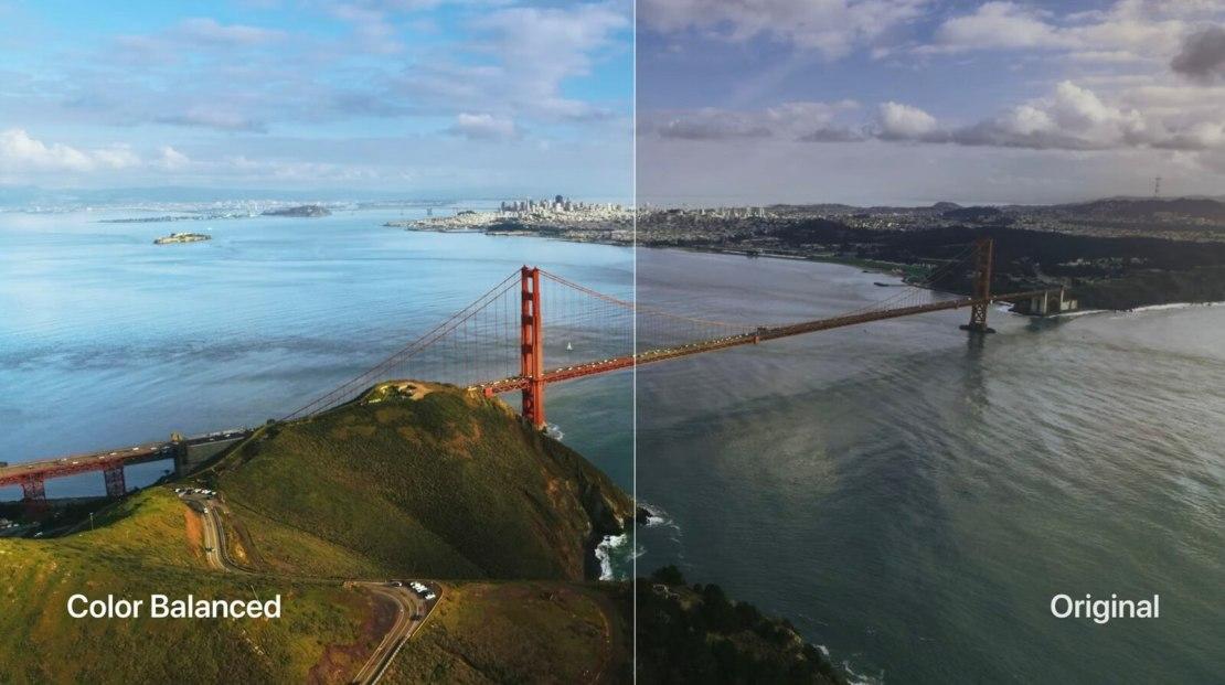 Porównanie ustawień balansu kolorów na Apple TV