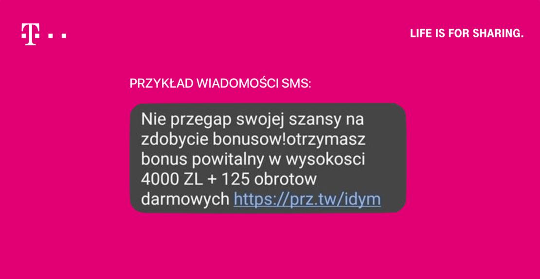 Przykład wiadomości SMS od kasyna internetowego